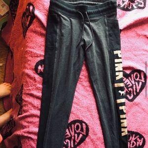 PINK Victoria's Secret Pants - PINK VS SEQUIN BLING TIE WAIST CAMPUS YOGA LEGGING
